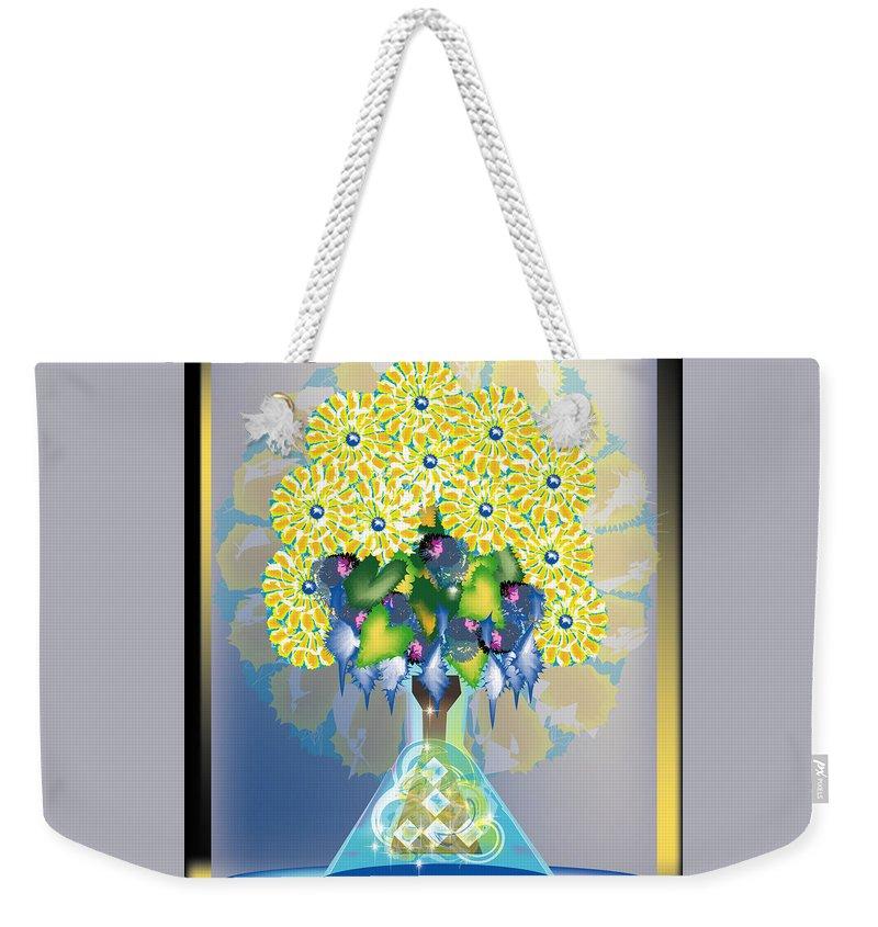 Flowers Weekender Tote Bag featuring the digital art Crystal Boquet by George Pasini