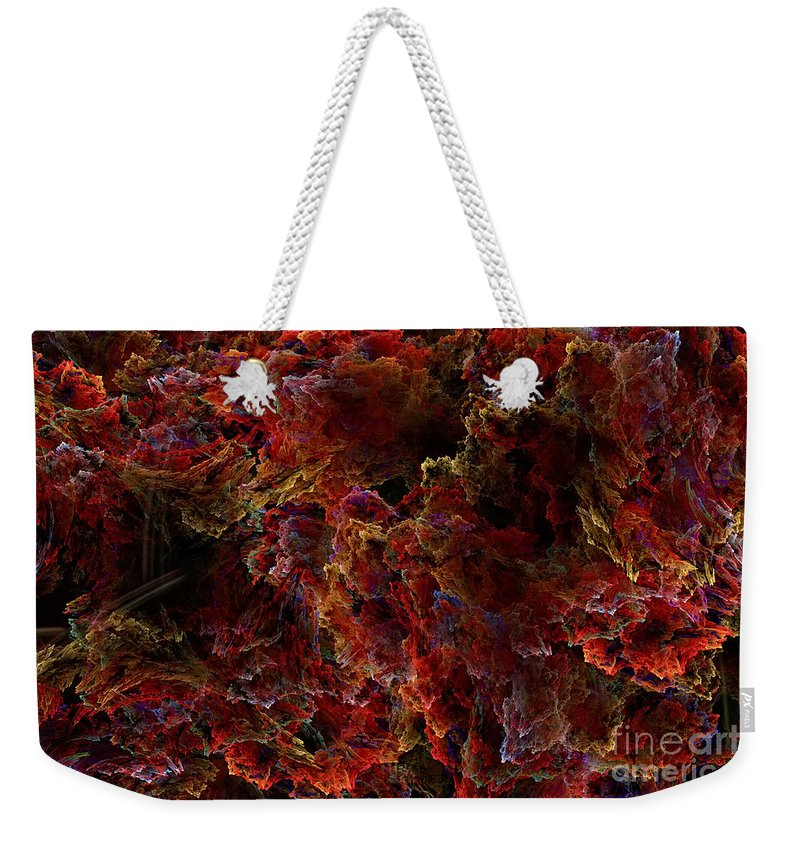 Abstract Art Weekender Tote Bag featuring the digital art Crystal Inspiration Number Two Close Up by Olga Hamilton