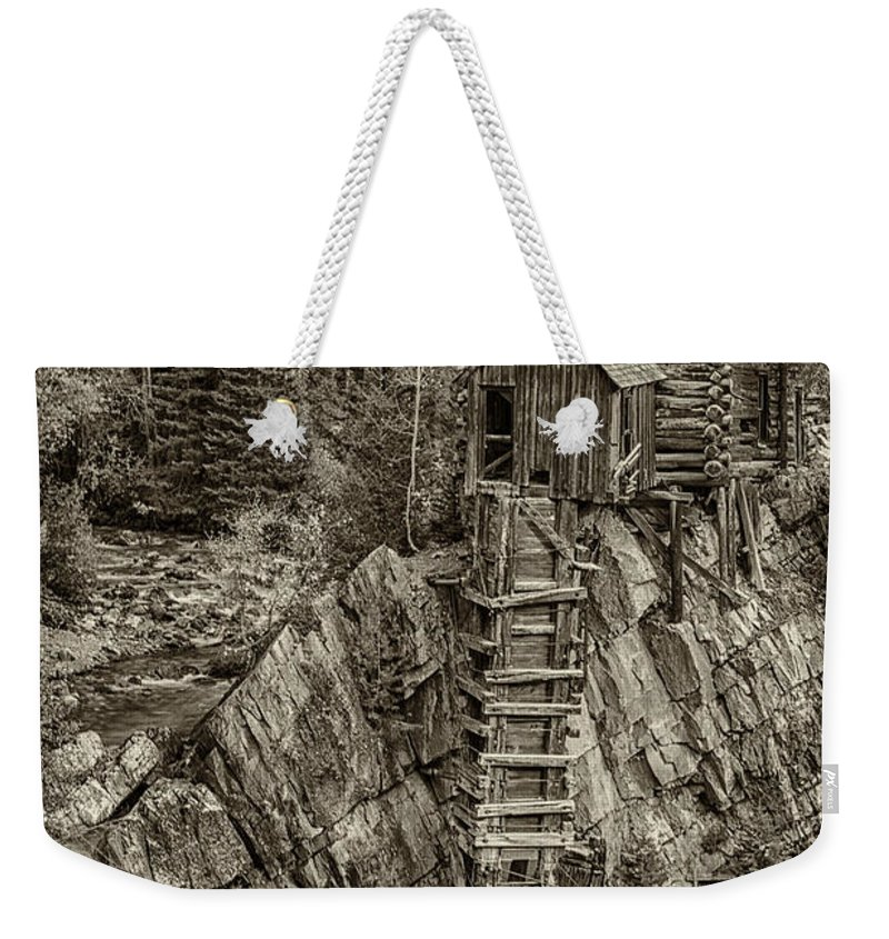 Colorado Weekender Tote Bag featuring the photograph Crystal Mill Marble Colorado Sepia Dsc06944 by Greg Kluempers