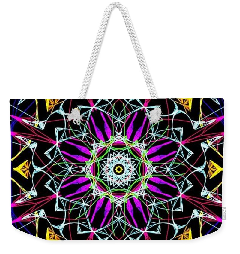 Weekender Tote Bag featuring the digital art Crystal Sun by Katelena Nettles