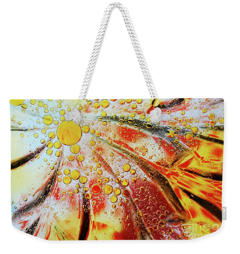 Water Weekender Tote Bag featuring the photograph Crystal Sunburst by Nancy Mueller