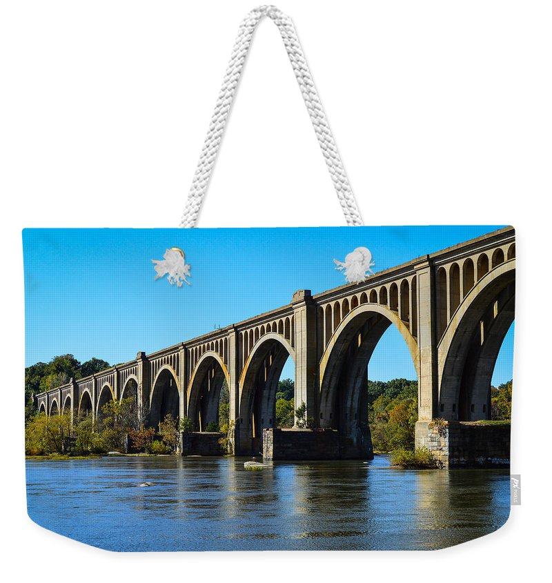 Bridge Weekender Tote Bag featuring the photograph Csx A-line Bridge by Aaron Dishner