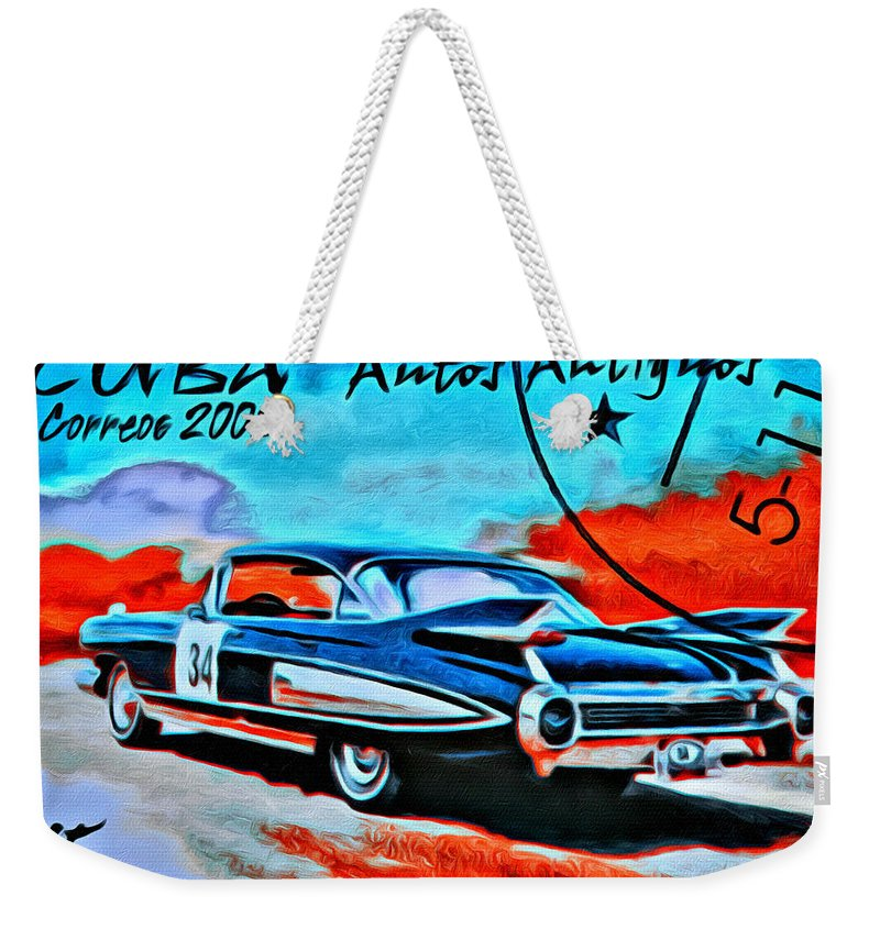 Car Weekender Tote Bag featuring the photograph Cuba Antique Auto 1959 Fleetwood by Modern Art