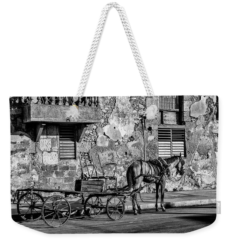 Cuban Horse Power; Cuban; Horse; Power; Horse And Carriage; Carriage; Hp; Cuba; Photography & Digital Art; Photography; Photo; Photo Art; Art; Digital Art; 2bhappy4ever; 2bhappy4ever.com; 2bhappy4evercom; Tobehappyforever; Weekender Tote Bag featuring the photograph Cuban Horse Power BW by Erron