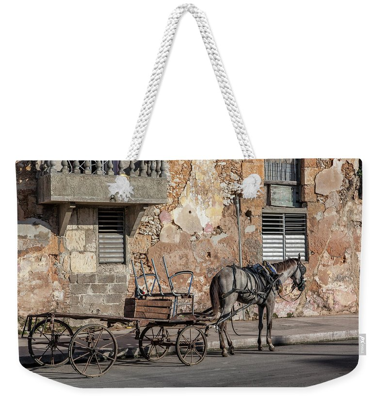 Cuban Horse Power; Cuban; Horse; Power; Horse And Carriage; Carriage; Hp; Cuba; Photography & Digital Art; Photography; Photo; Photo Art; Art; Digital Art; 2bhappy4ever; 2bhappy4ever.com; 2bhappy4evercom; Tobehappyforever; Weekender Tote Bag featuring the photograph Cuban Horse Power FC by Erron