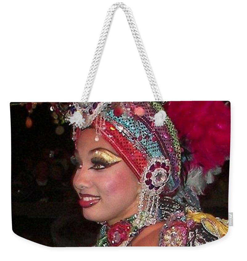 Cuba Weekender Tote Bag featuring the photograph Cuban Tropicana Dancer by Karen Wiles