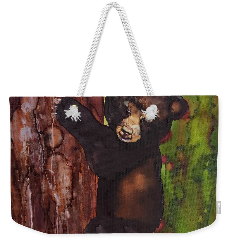 Bear Weekender Tote Bag featuring the painting Cubby Climbing by Jean Blackmer