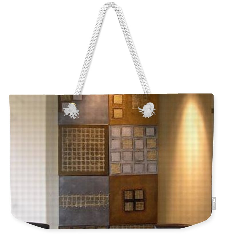 Metallic Weekender Tote Bag featuring the mixed media Cubelle by Marlene Burns
