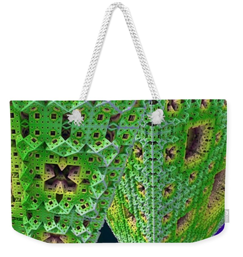 Fractal Weekender Tote Bag featuring the digital art Cubes In Green by Ron Bissett