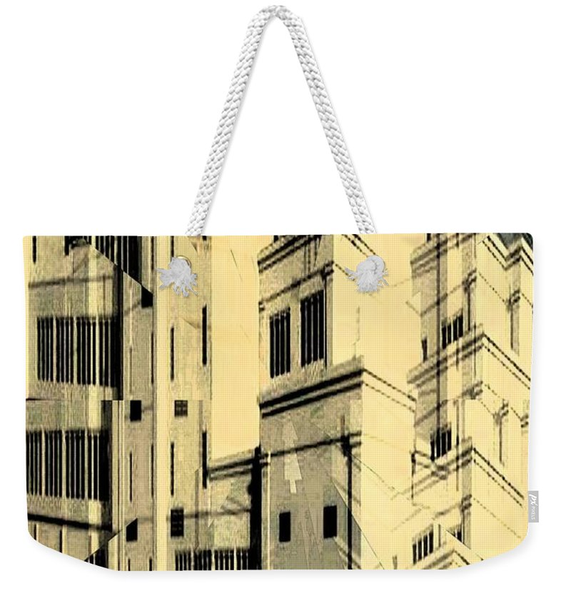Building Weekender Tote Bag featuring the digital art Cubic Building by Ron Bissett