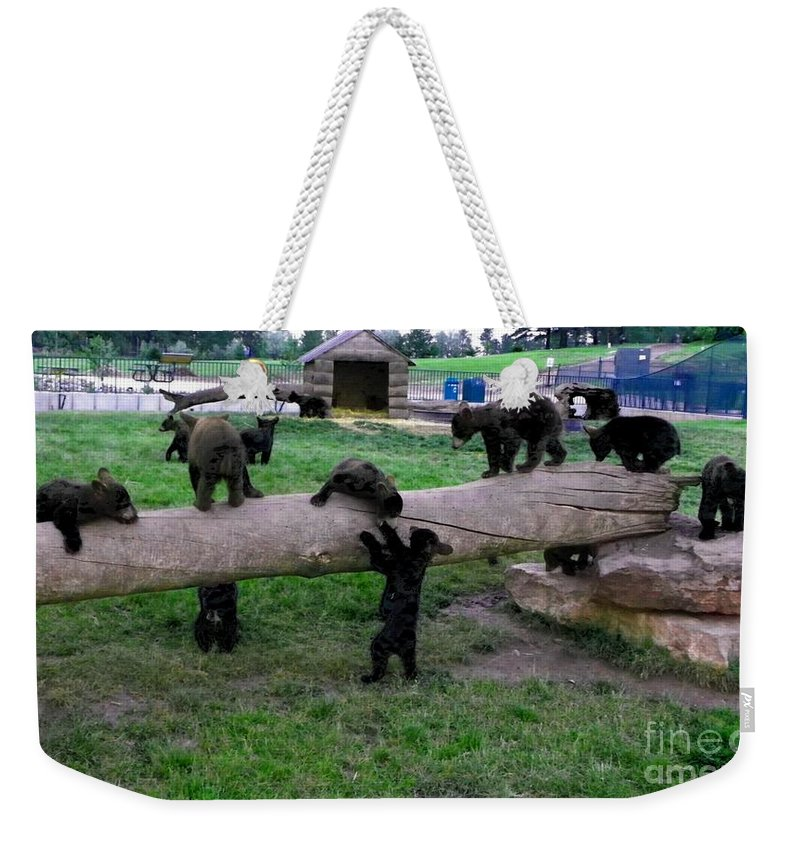 Bears Weekender Tote Bag featuring the photograph Cubs At The Playground by Charleen Treasures