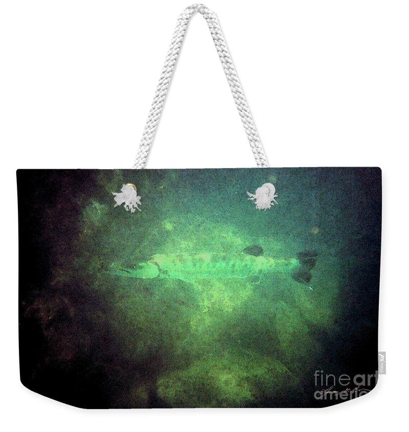 Barracuda Weekender Tote Bag featuring the digital art Cuda In The Water by Tommy Anderson