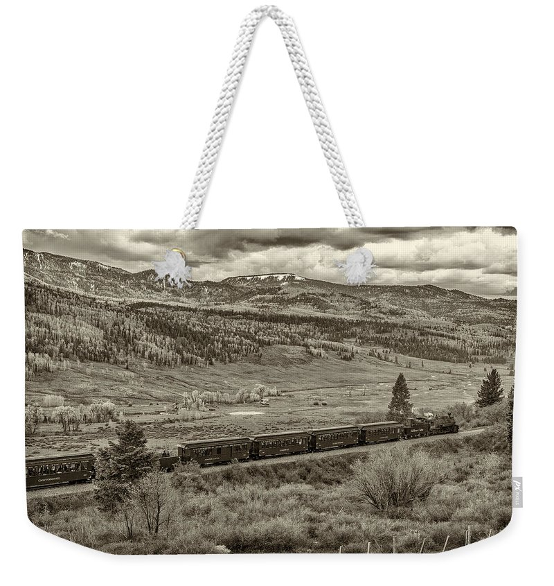 New Mexico Weekender Tote Bag featuring the photograph Cumbres Toltec Railroad Nm Sepia Dsc04065 by Greg Kluempers