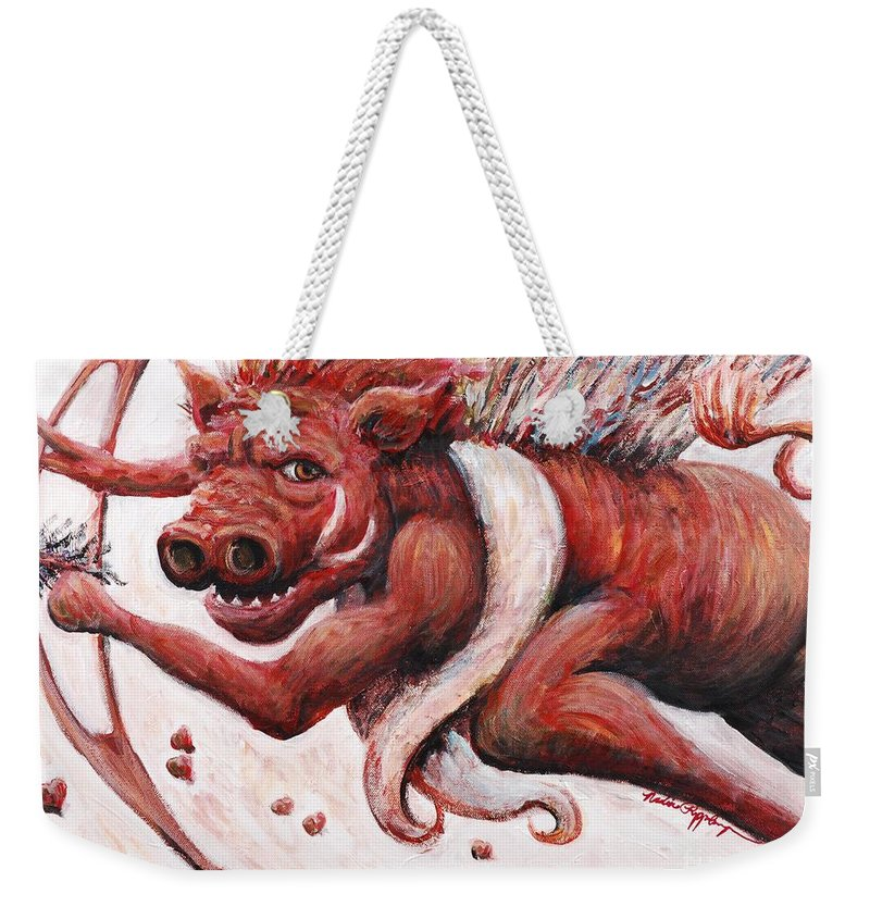 Pig Weekender Tote Bag featuring the painting Cupig by Nadine Rippelmeyer