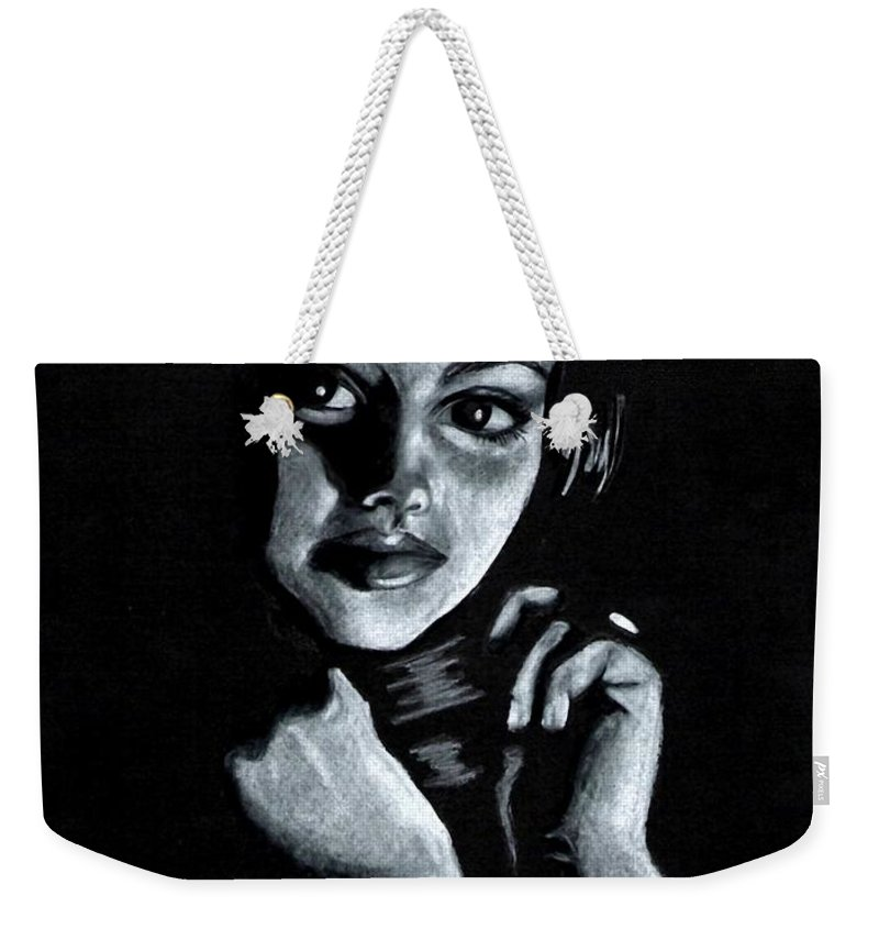 Portrait Weekender Tote Bag featuring the drawing Curiosity by Scarlett Royal