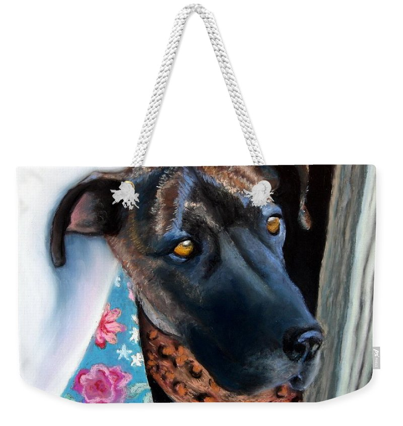 Great Dane Weekender Tote Bag featuring the painting Whats Going On? by Minaz Jantz