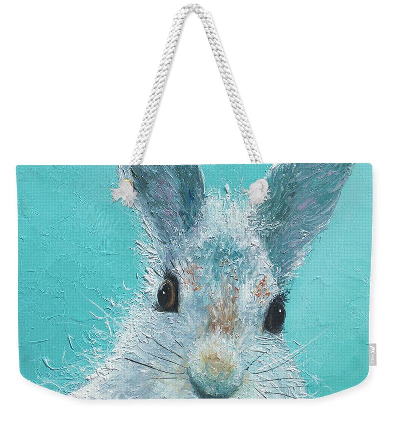 Bunny Weekender Tote Bag featuring the painting Curious Grey Rabbit by Jan Matson