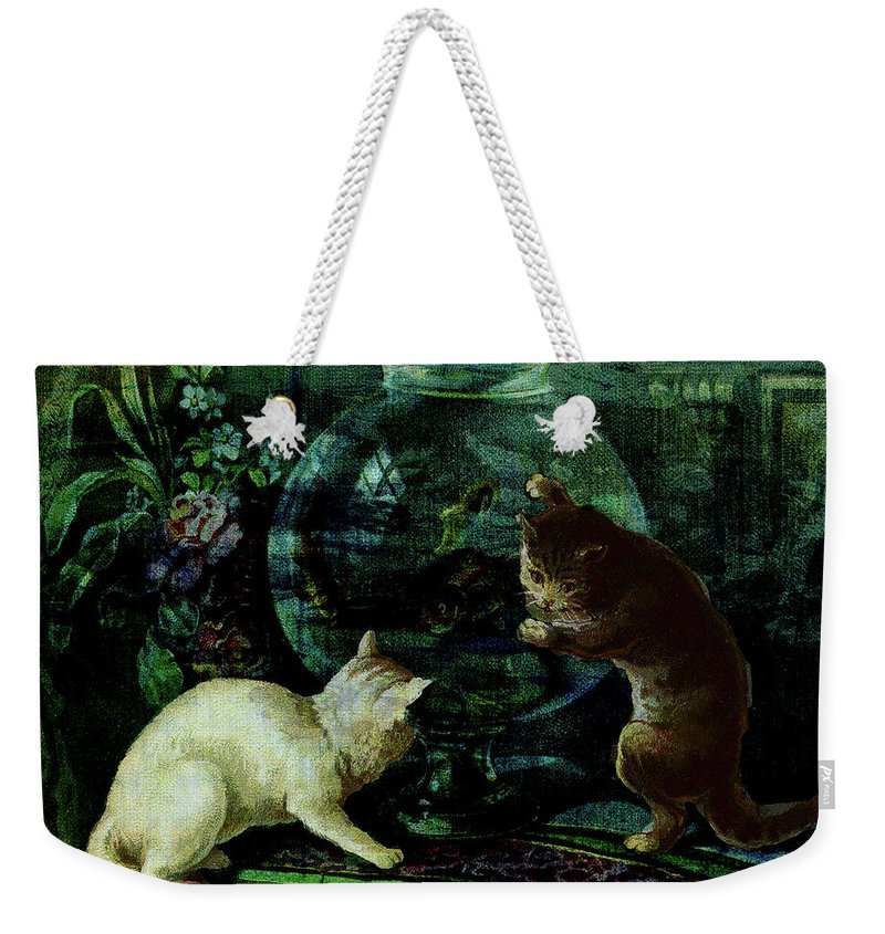 Cats Weekender Tote Bag featuring the digital art Curious Kittens by Sarah Vernon