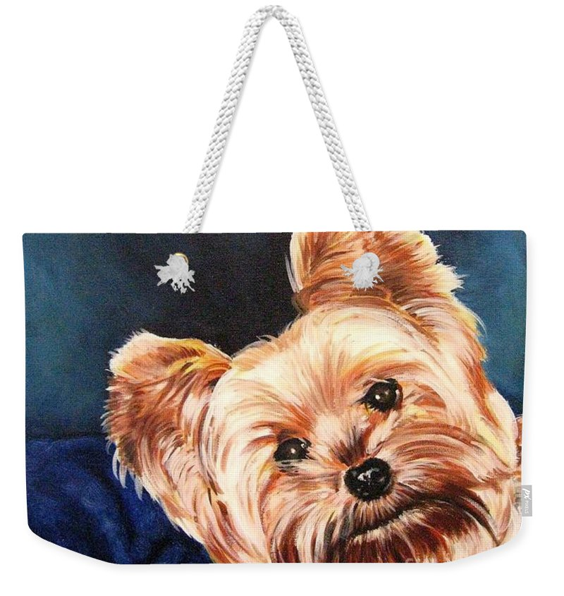 Animals Weekender Tote Bag featuring the painting Curious Yorkie by Holger Majorahn