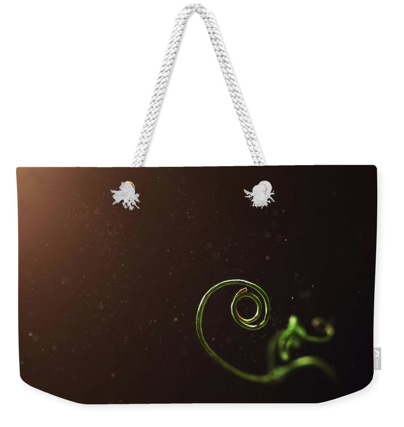 Pea Weekender Tote Bag featuring the photograph Curl - A Pea Pod Shoot by Scott Norris