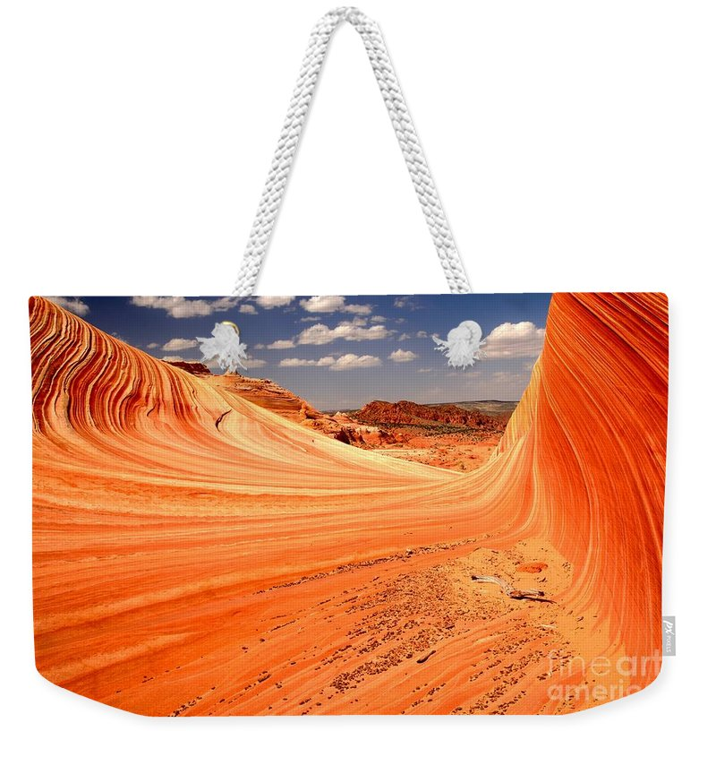 The Wave Weekender Tote Bag featuring the photograph Curling Sandstone Waves by Adam Jewell