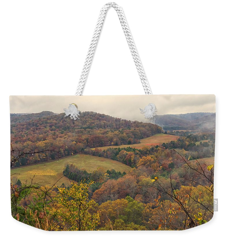 Current River Weekender Tote Bag featuring the photograph Current River Valley Near Acers Ferry Mo Dsc09419 by Greg Kluempers