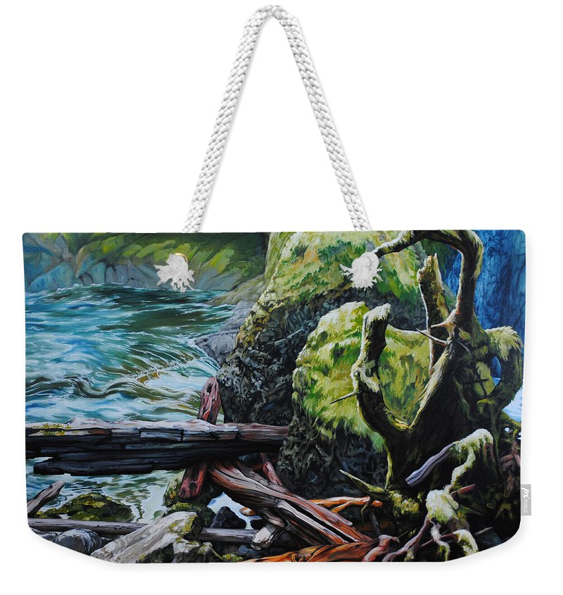 Nature Weekender Tote Bag featuring the painting Currents by Chris Steinken