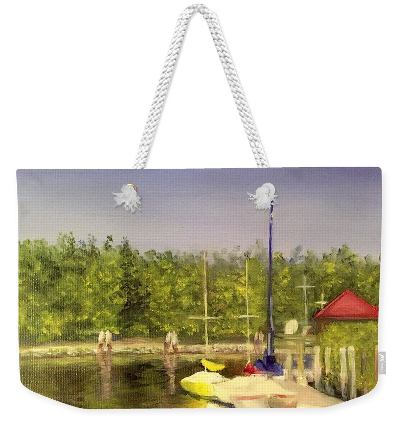 Sailboats Weekender Tote Bag featuring the painting Curtin's Marina II by Sheila Mashaw