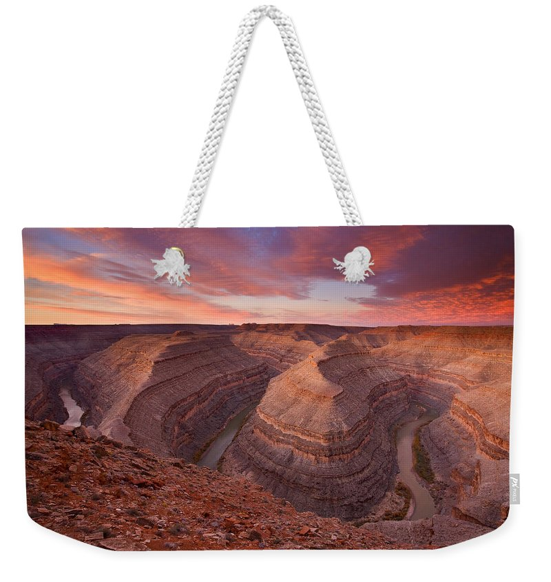 Canyon Weekender Tote Bag featuring the photograph Curves Ahead by Mike Dawson