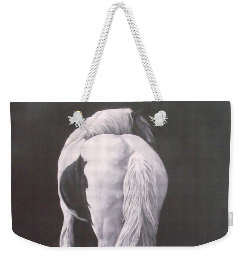 Horse Weekender Tote Bag featuring the painting Curves-milltown Fair by Pauline Sharp