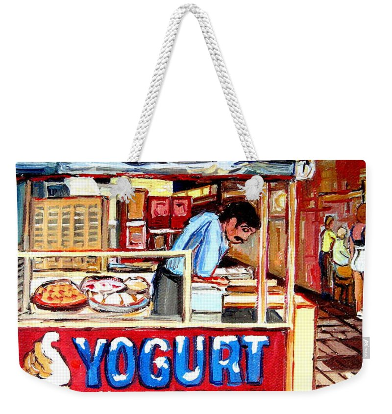 Custard Cart Weekender Tote Bag featuring the painting Custard Cart by Carole Spandau
