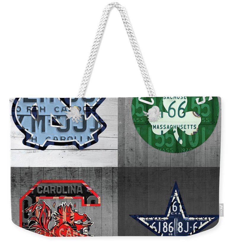 Unc Weekender Tote Bag featuring the mixed media Custom 4 Team License Plates Sport Art No 1 by Design Turnpike