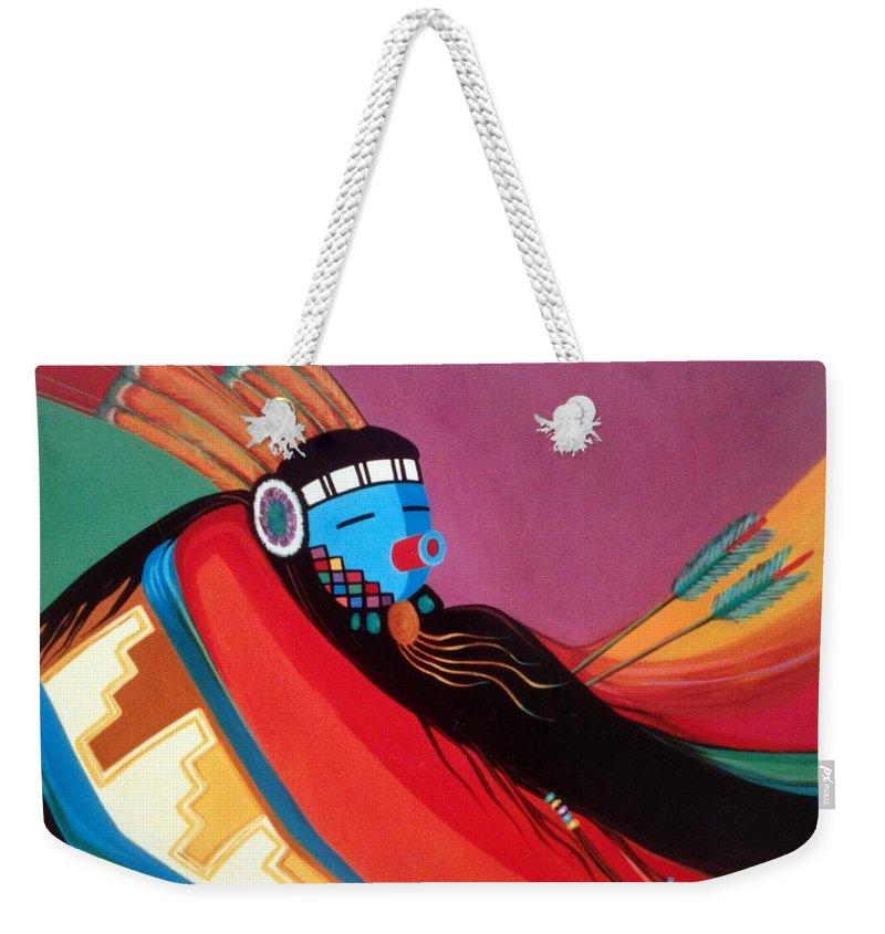 Kachina Weekender Tote Bag featuring the painting Custom Kachina by Marlene Burns