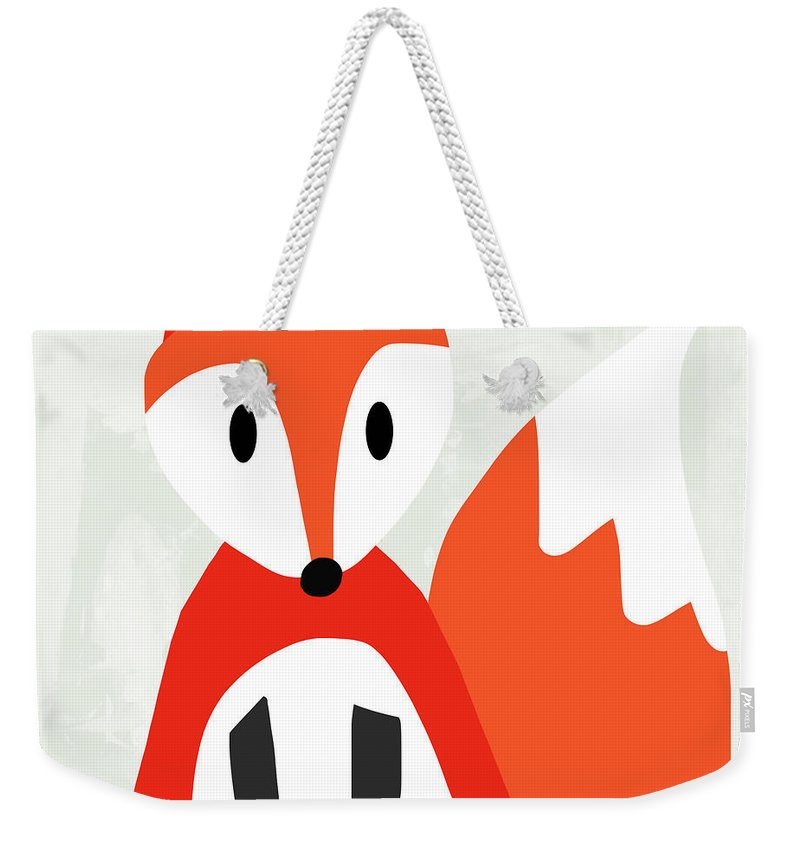 Fox Weekender Tote Bag featuring the mixed media Cute Red And White Fox- Art By Linda Woods by Linda Woods