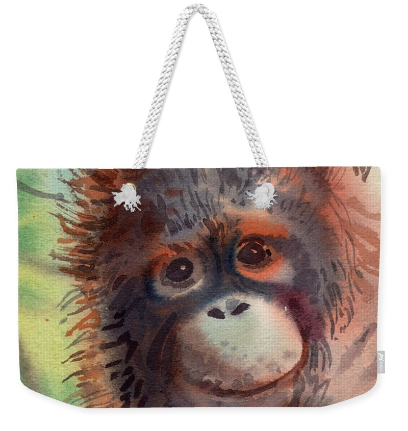 Orangutans Weekender Tote Bag featuring the painting My Precious by Donald Maier