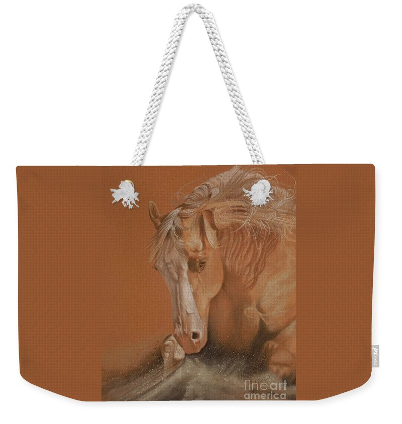 Horse Weekender Tote Bag featuring the painting Cutting Horse by Gail Finger