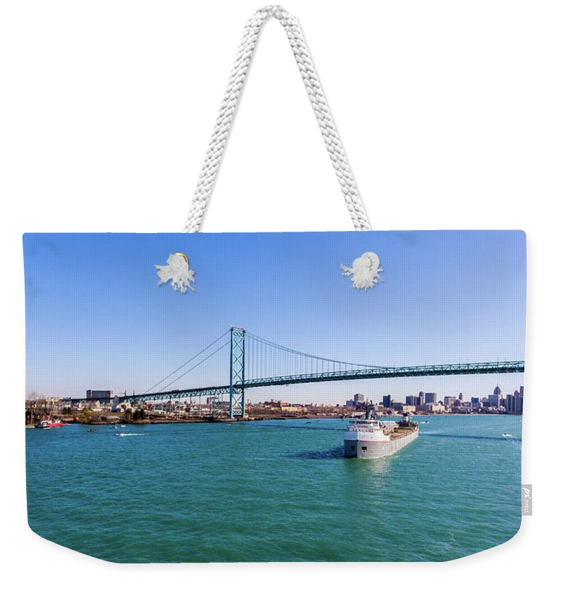 Christopher List Weekender Tote Bag featuring the photograph Cuyahoga Downbound At Detroit by Gales Of November