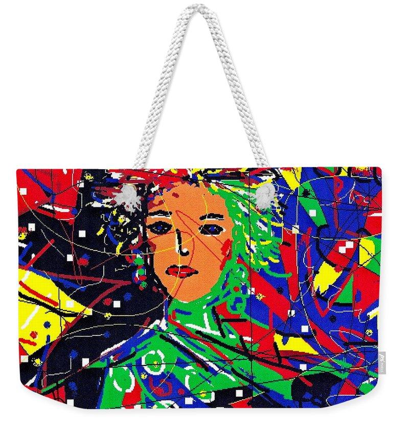 Woman Weekender Tote Bag featuring the digital art Cyberspace Goddess by Natalie Holland