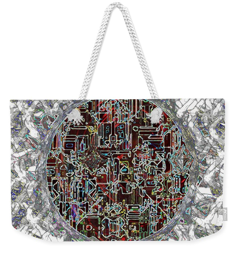 Abstract Weekender Tote Bag featuring the painting Cyborg Heart by RC DeWinter