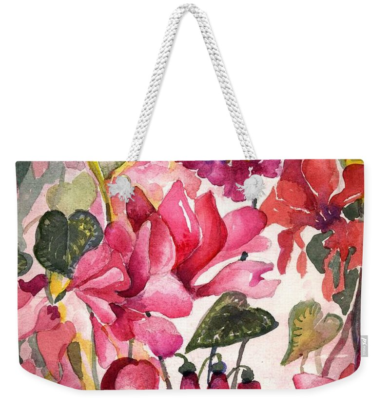 Cyclamen Weekender Tote Bag featuring the painting Cyclamen by Mindy Newman