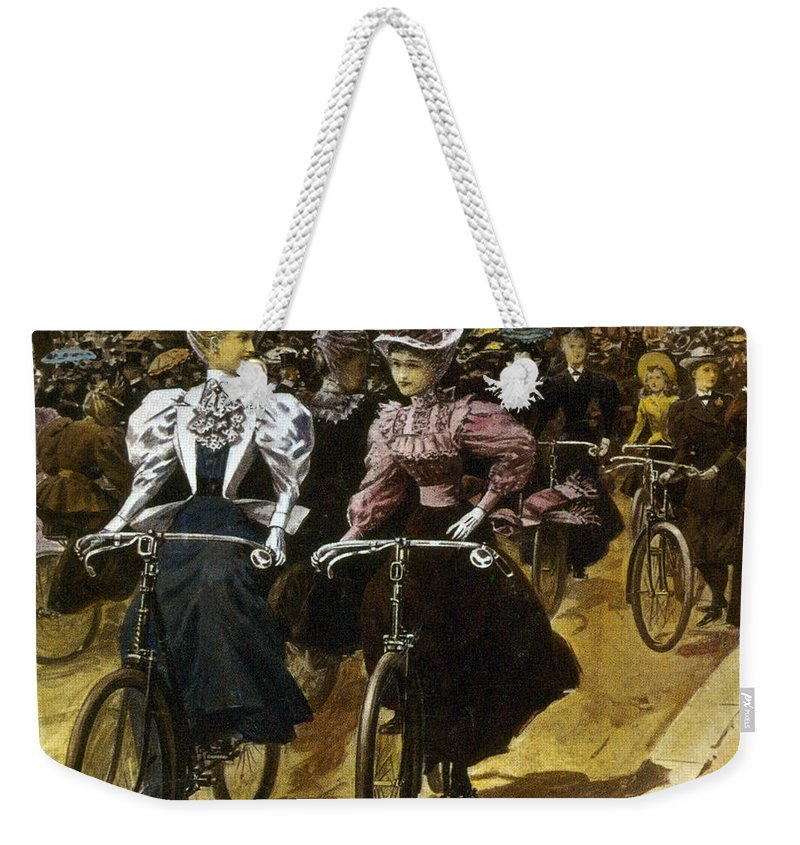 Fashion Weekender Tote Bag featuring the photograph Cycling Fashions, 1895 by Science Source