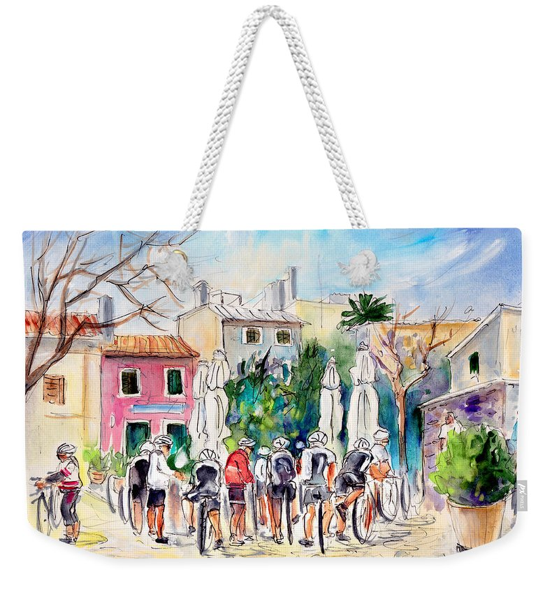 Travel Weekender Tote Bag featuring the painting Cycling In Majorca 05 by Miki De Goodaboom