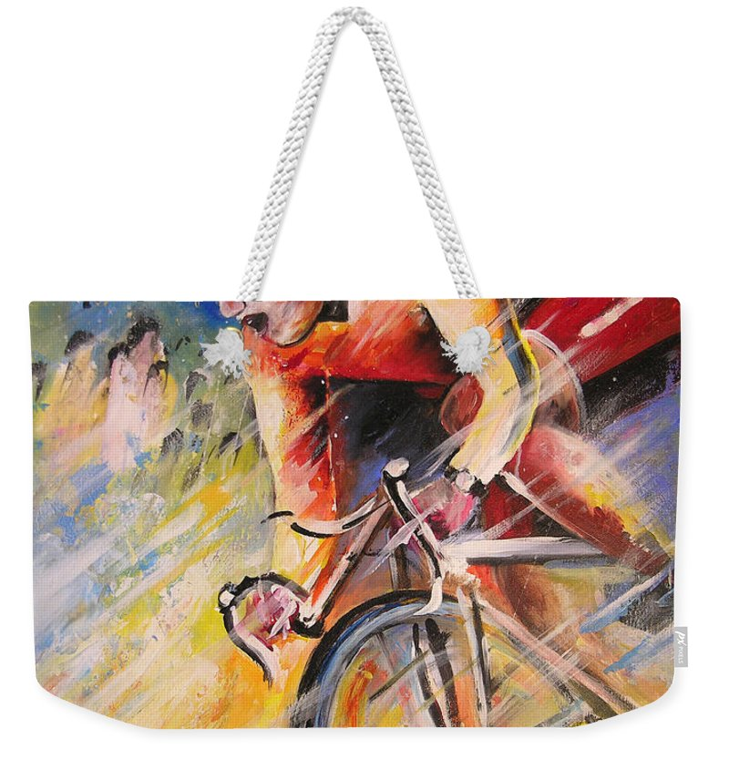 Sports Weekender Tote Bag featuring the painting Cycling by Miki De Goodaboom