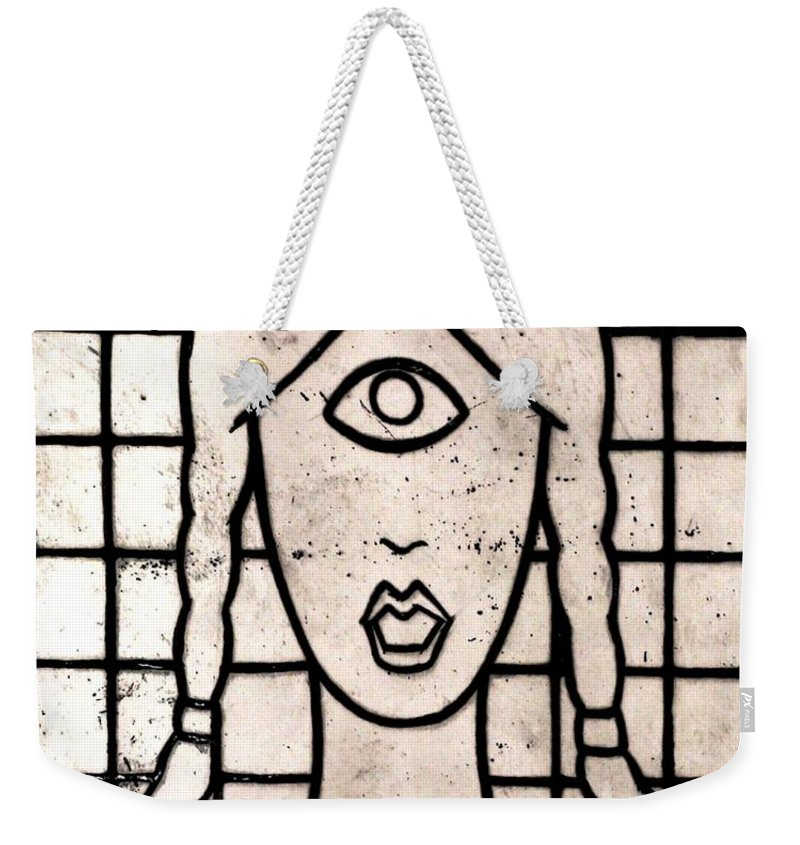 Clay Weekender Tote Bag featuring the painting Cyclops by Thomas Valentine