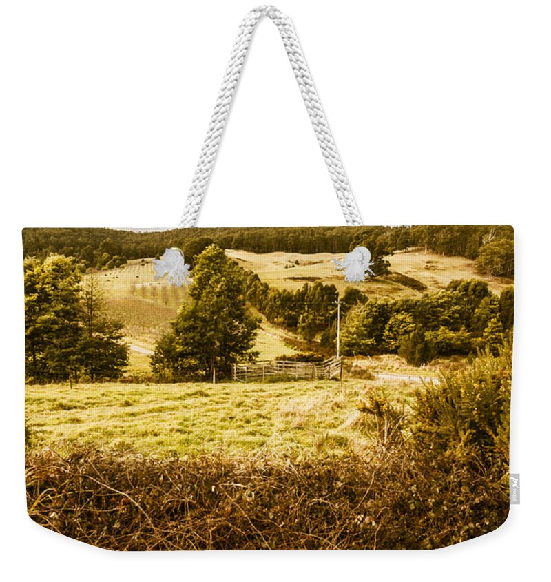 Farm Weekender Tote Bag featuring the photograph Cygnet Rustic Farming Fields by Jorgo Photography - Wall Art Gallery