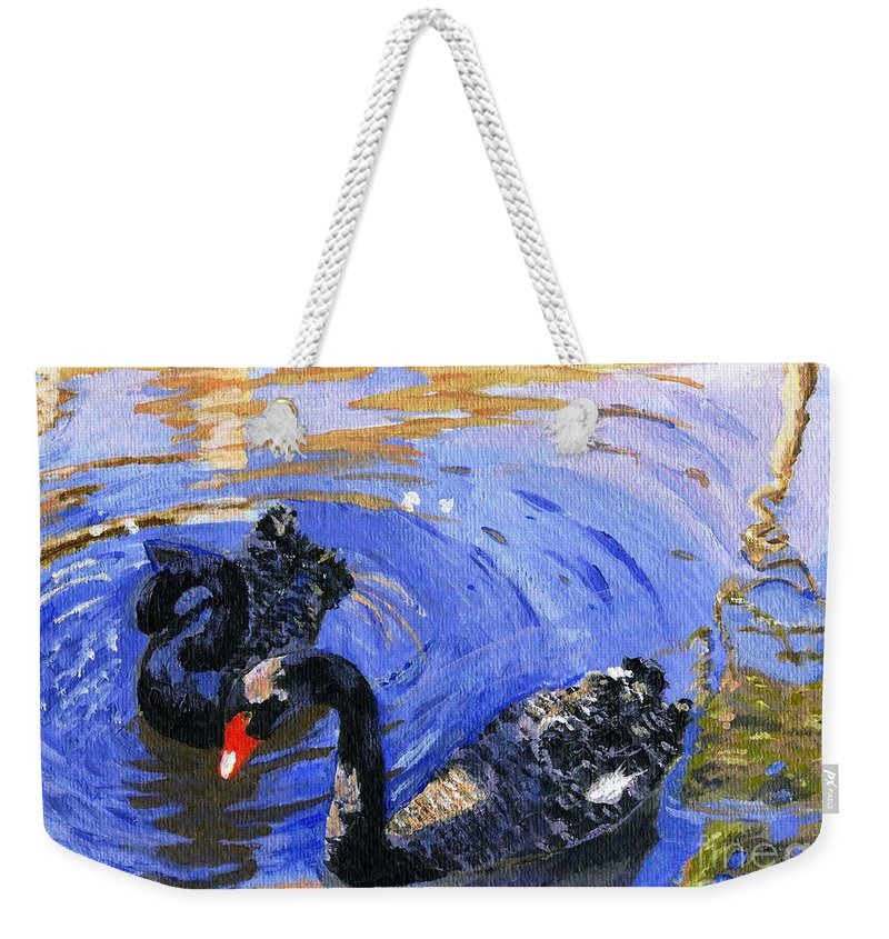 Acrylic Weekender Tote Bag featuring the painting Cygnus Atratus by Lynne Reichhart
