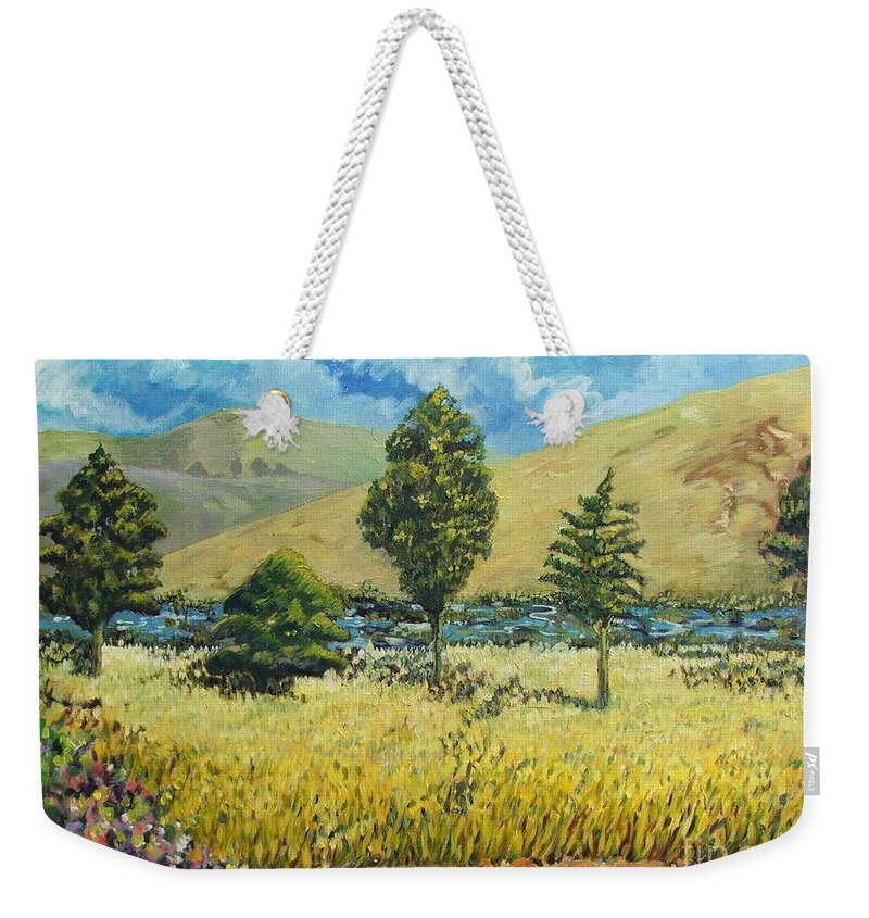 South African Landscape Weekender Tote Bag featuring the painting Cypresses At Lydenburg by Caroline Street
