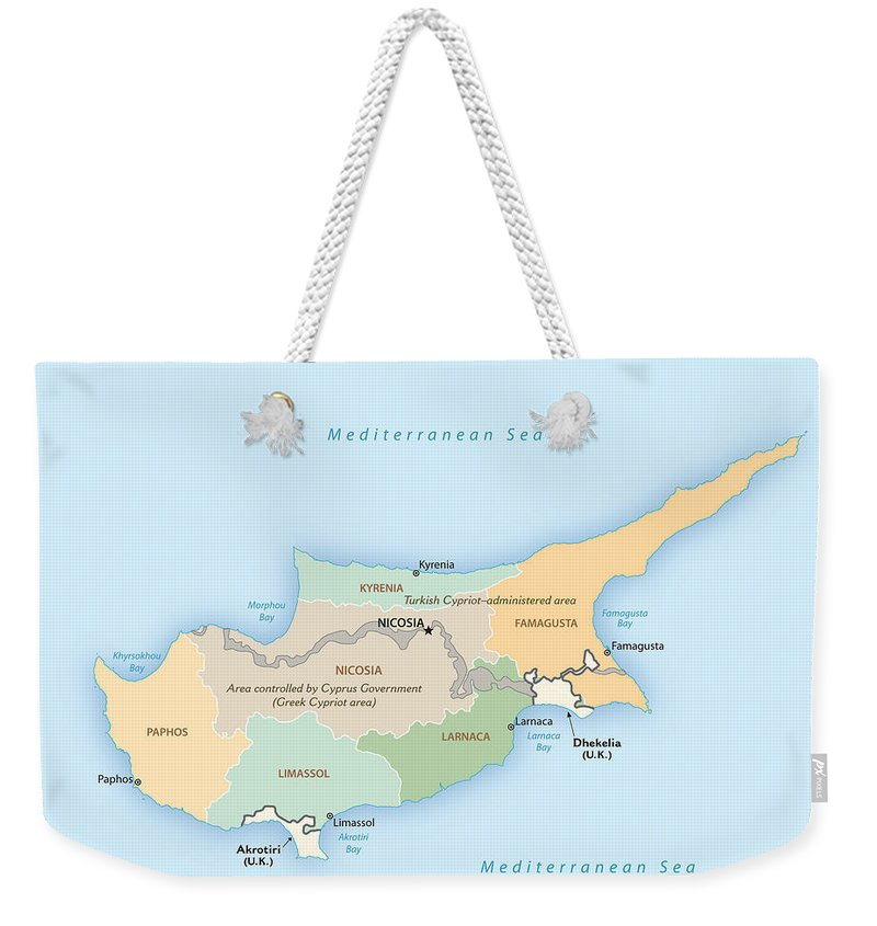 Atlas Weekender Tote Bag featuring the mixed media Cyprus by Roy Pedersen