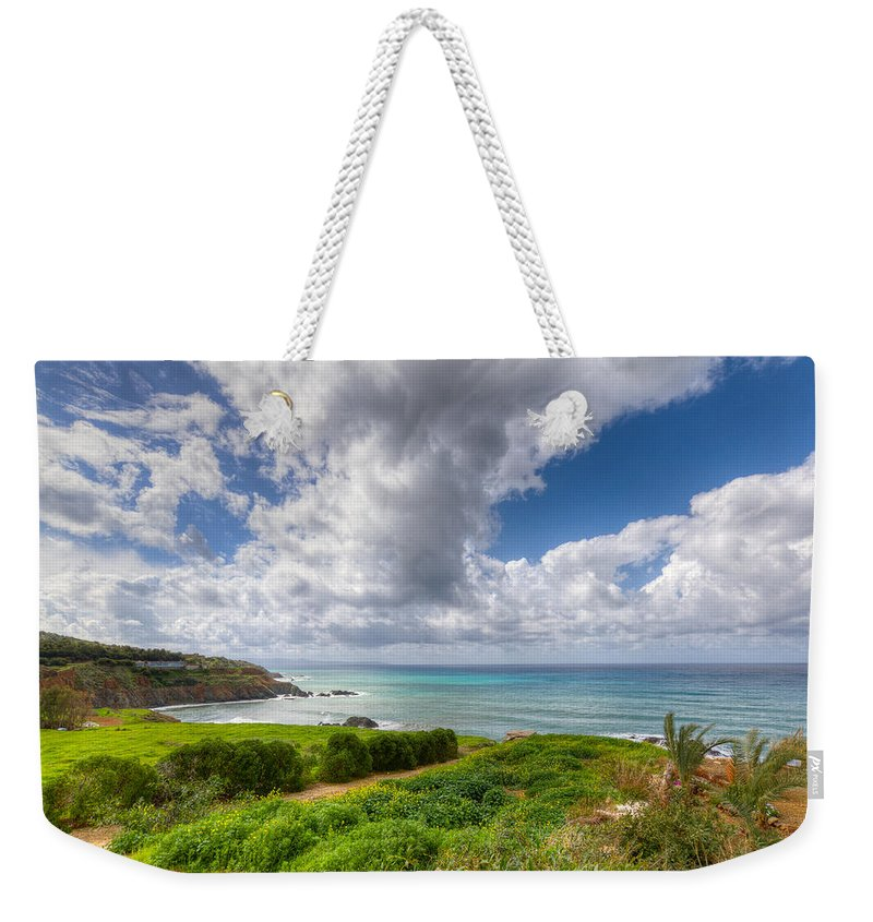 Cyprus Weekender Tote Bag featuring the photograph Cyprus Spring Seascape And Landscape by Iordanis Pallikaras