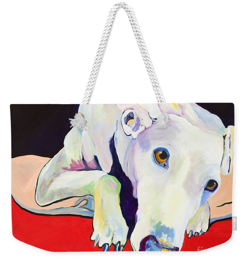 Animals Pets Greyhound Weekender Tote Bag featuring the painting Cyrus by Pat Saunders-White